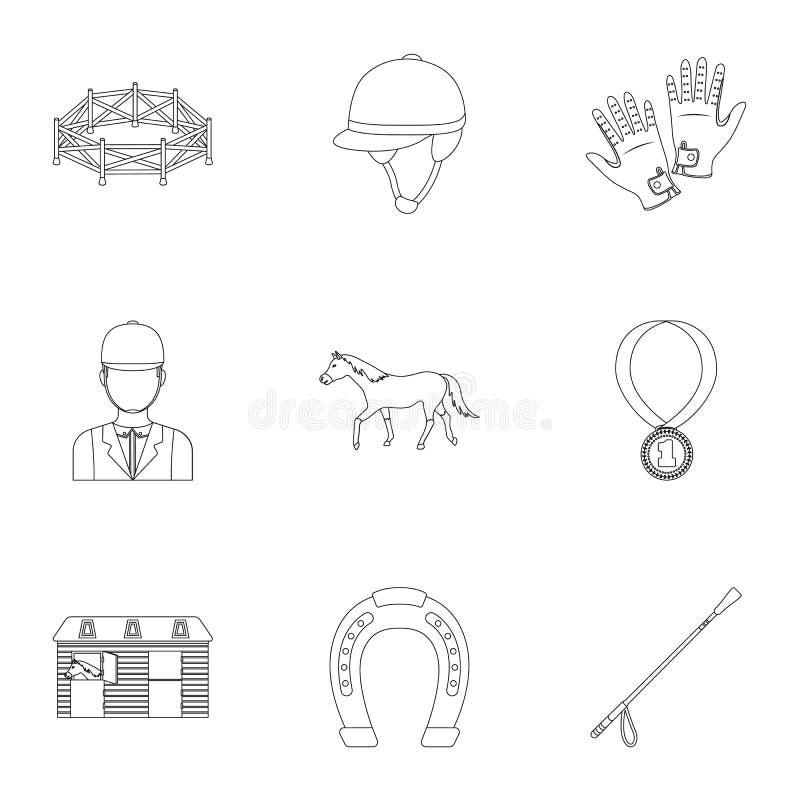 Rassen op horseback, renbaan Paardenrennen en het uitrusten van ruiters Renbaan en paardpictogram in vastgestelde inzameling op o stock illustratie