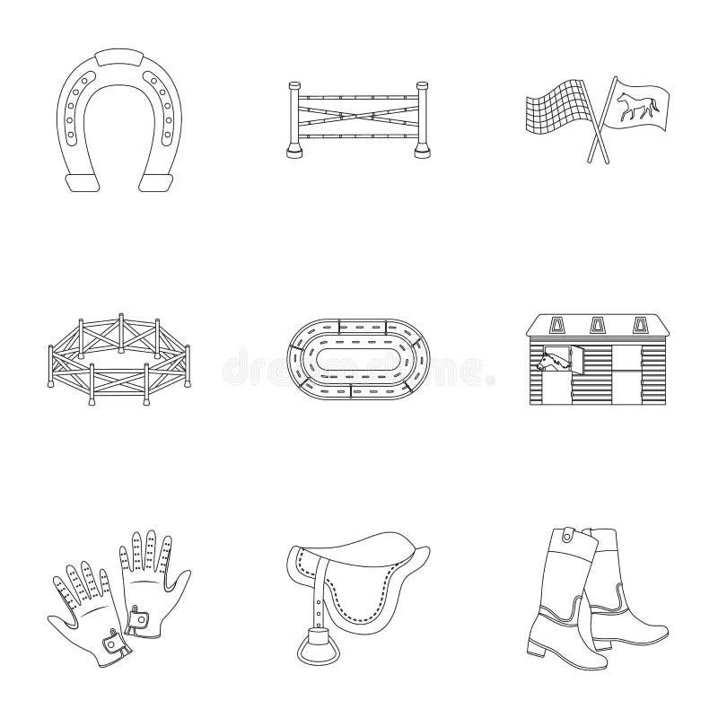 Rassen op horseback, renbaan Paardenrennen en het uitrusten van ruiters Renbaan en paardpictogram in vastgestelde inzameling op o vector illustratie