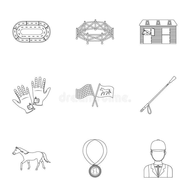 Rassen op horseback, renbaan Paardenrennen en het uitrusten van ruiters Renbaan en paardpictogram in vastgestelde inzameling op o royalty-vrije illustratie