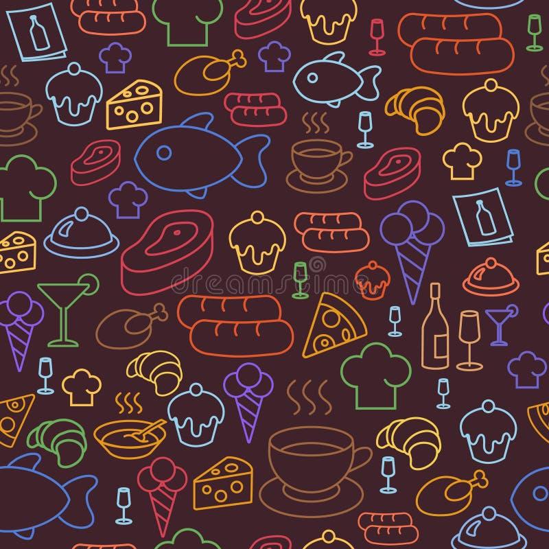 Rassenbarrièrepictogrammen van restaurant en snel voedsel zoals koffie, pizza, worst en roomijs Naadloos patroon stock illustratie