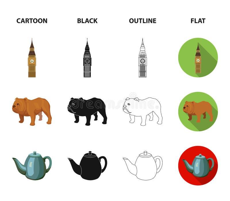 Rassenhond, theepot, brouwer Vastgestelde de inzamelingspictogrammen van het land van Engeland in beeldverhaal, zwarte, overzicht stock illustratie