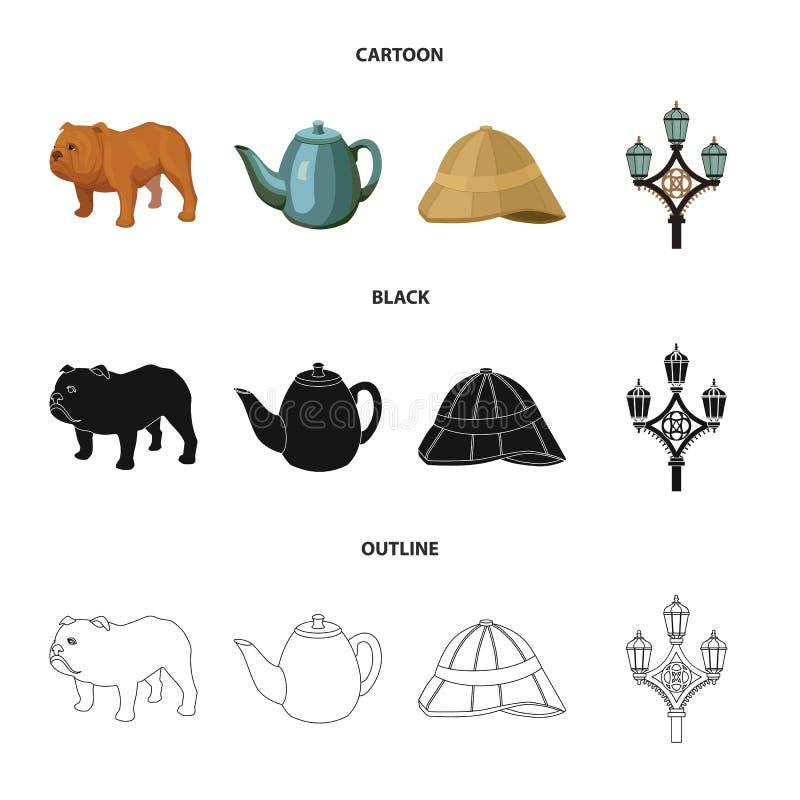 Rassenhond, theepot, brouwer Vastgestelde de inzamelingspictogrammen van het land van Engeland in beeldverhaal, zwarte, vector he vector illustratie