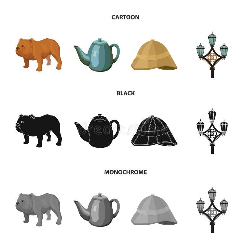 Rassenhond, theepot, brouwer Vastgestelde de inzamelingspictogrammen van het land van Engeland in beeldverhaal, de zwarte, zwart- vector illustratie