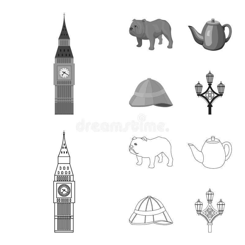 Rassenhond, theepot, brouwer Vastgestelde de inzamelingspictogrammen van het land van Engeland in overzicht, de zwart-wit voorraa royalty-vrije illustratie