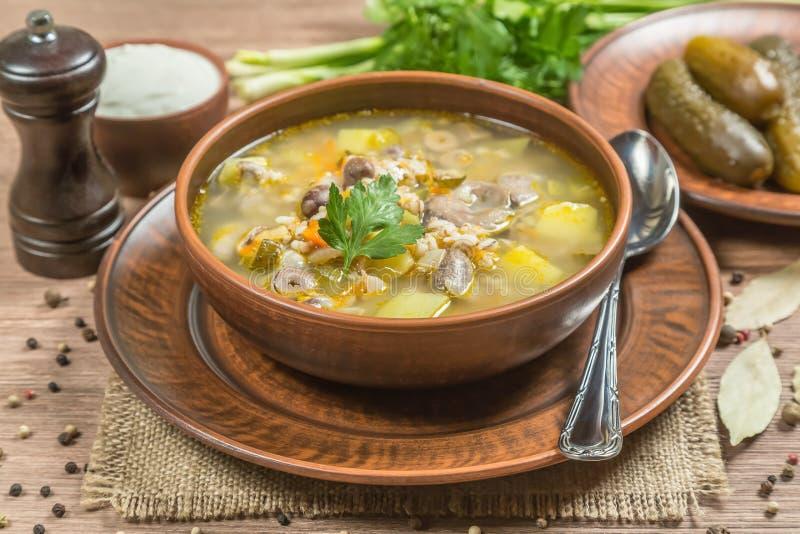 Rassolnik 汤用鸡内脏杂碎和腌汁 顶视图 拷贝空间 库存照片