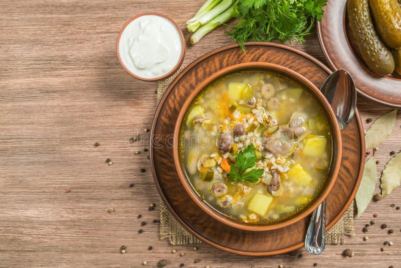 Rassolnik 汤用鸡内脏杂碎和腌汁 顶视图 拷贝空间 库存图片