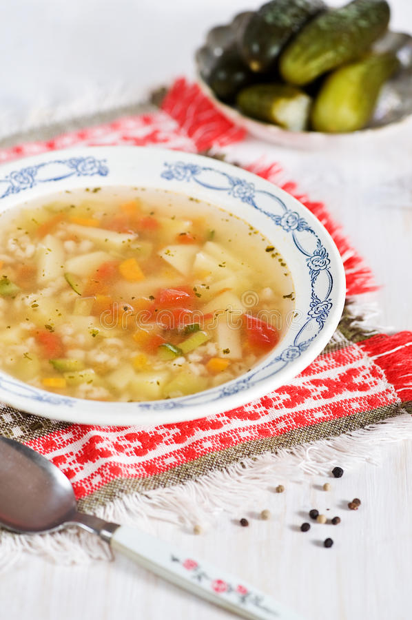 Rassolnik soup with pearl barley and cucumbers