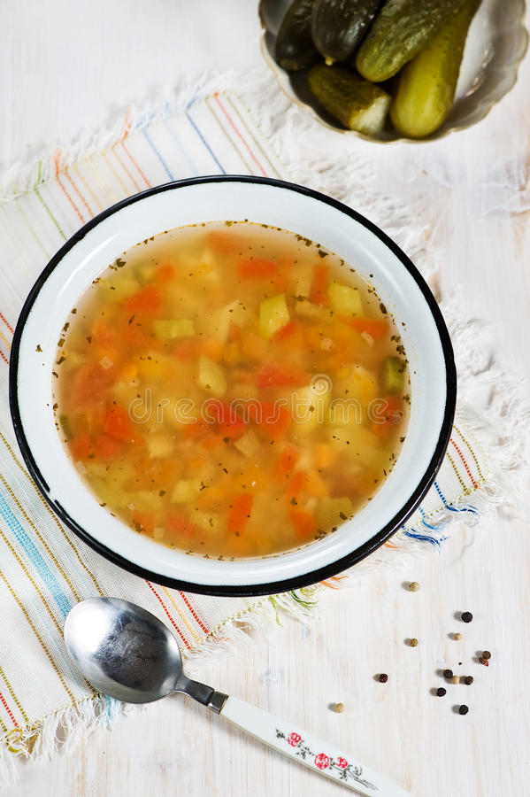Download Rassolnik Soup With Pearl Barley And Cucumbers Stock Image - Image: 26450645