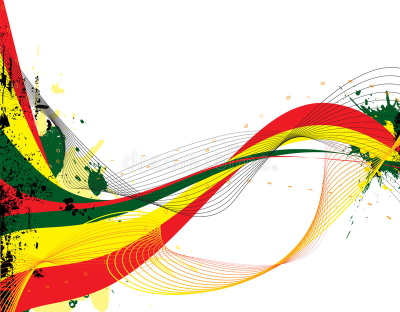 Rasta flow. Abstract rasta flow with copy space and ink splats in red yellow and green royalty free illustration