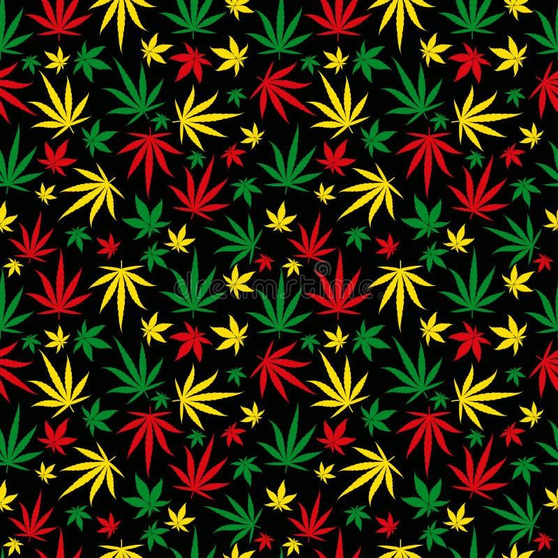 Rasta-Muster Reggaefarbverzierung Nahtloser Hintergrund des Marihuanas Rastafarian-Hanfhanf-Schablonenfülle Vektor lizenzfreie abbildung
