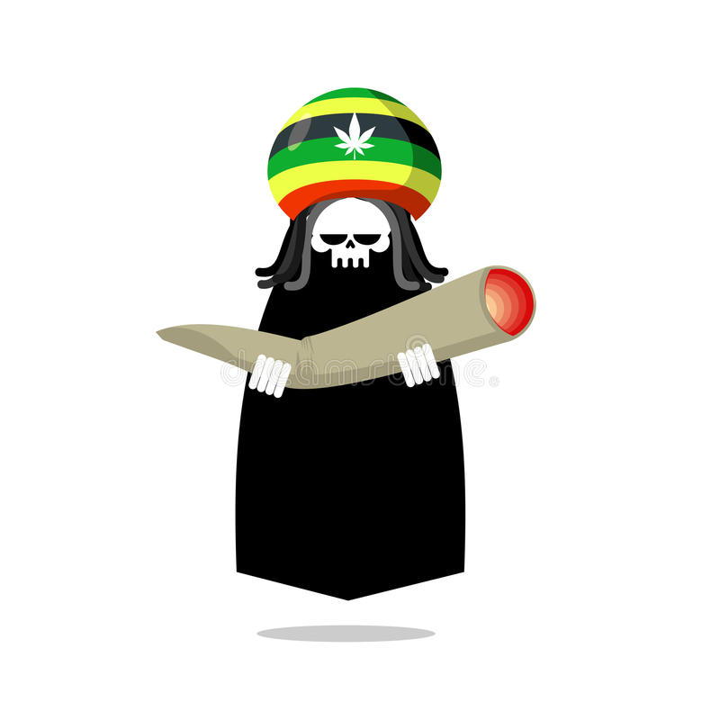 Rasta ofert śmiertelny złącze lub spliff Rastafarian dreadlocks czaszka ilustracji