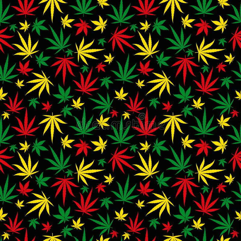 Rasta pattern. Reggae colour ornament. Marijuana seamless background. Rastafarian cannabis hemp template fill. Vector. Flat Illustration. Square stock clipart royalty free illustration