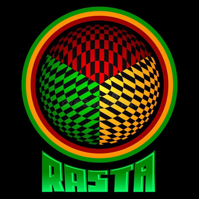 Rasta symbol - vektoremblemet, Jamaica färgar stock illustrationer