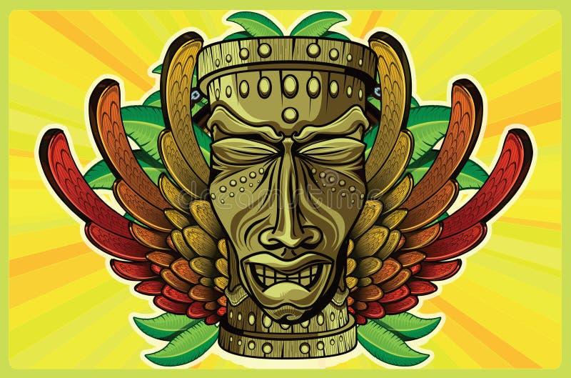 Rasta Tiki Plain stock illustrationer