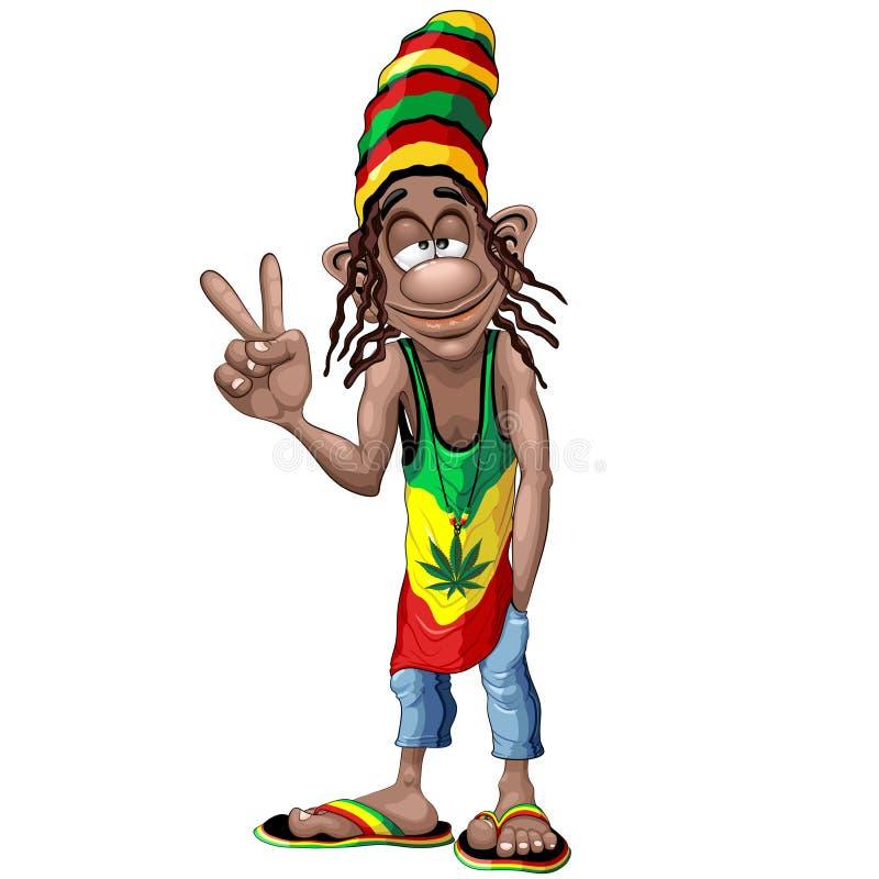 Free Rastafari Cool Peace Sign Cartoon Character Vector Illustration Royalty Free Stock Image - 154818846