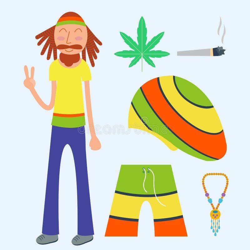 Rastafarian大麻和平ganja象在平的样式大麻抽烟的设备传染媒介例证设置了 库存例证