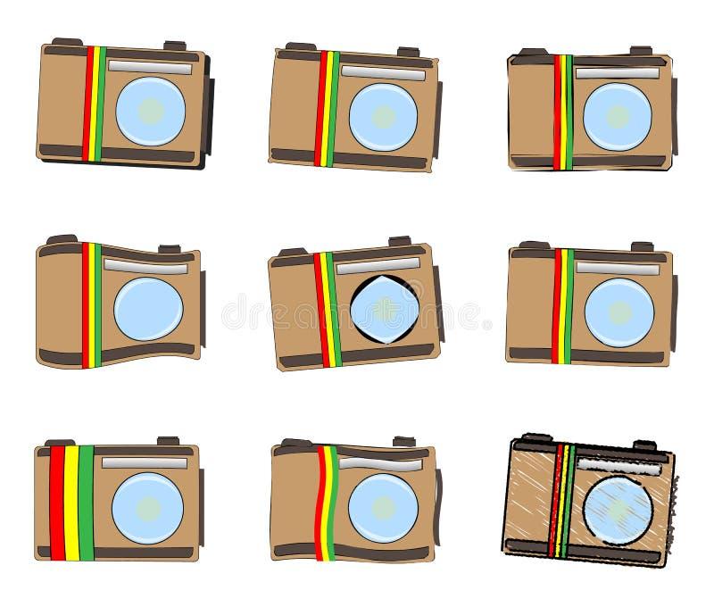 Rastafarian照相机象集合 皇族释放例证