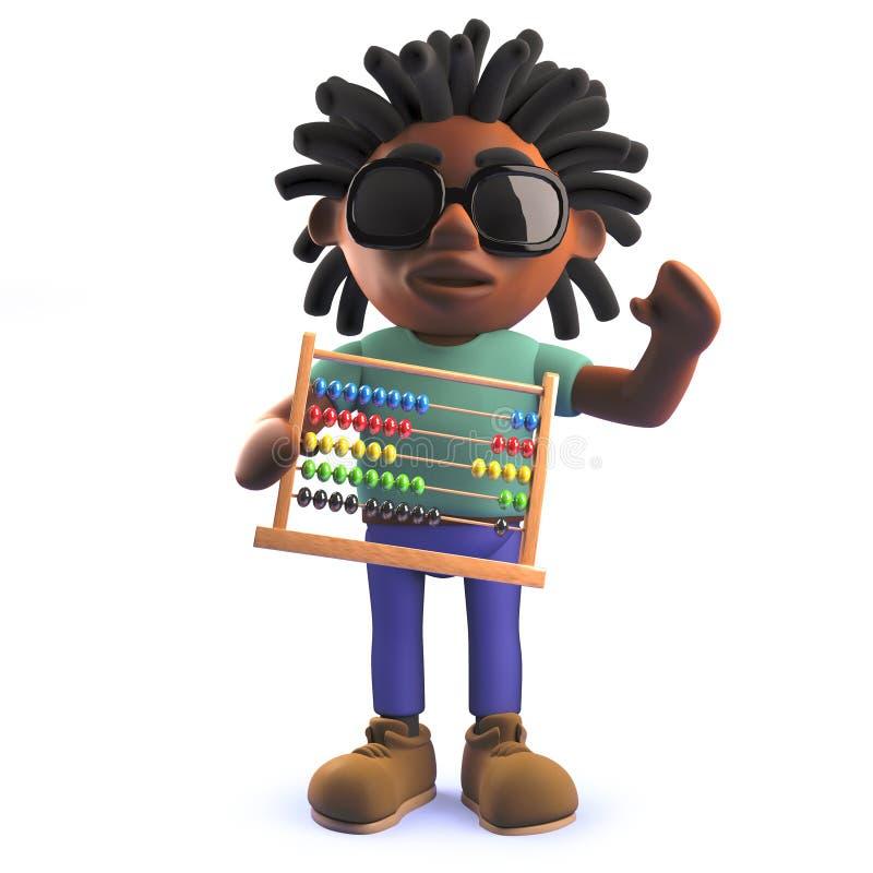 Rastafarian Afrykański mężczyzna trzyma abakusa w kreskówce 3d ilustracja wektor