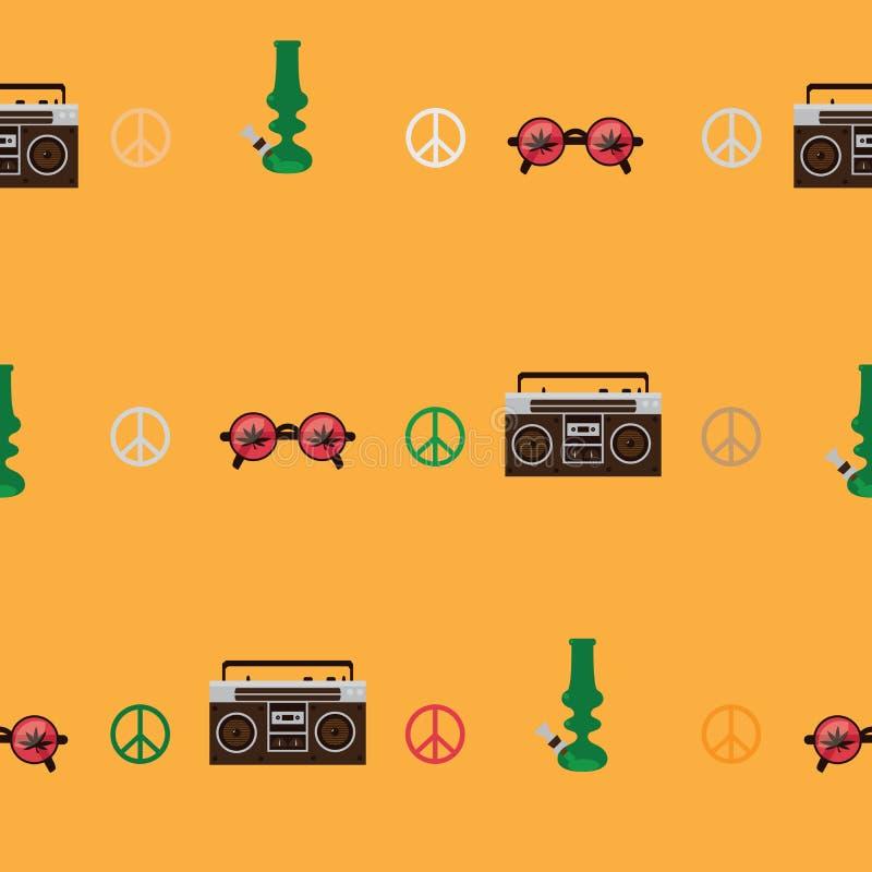Rastafarian avbildar den sömlösa modellen med den gammalmodiga skivspelaren, runda formade exponeringsglas med marijuanabladet, g royaltyfri illustrationer