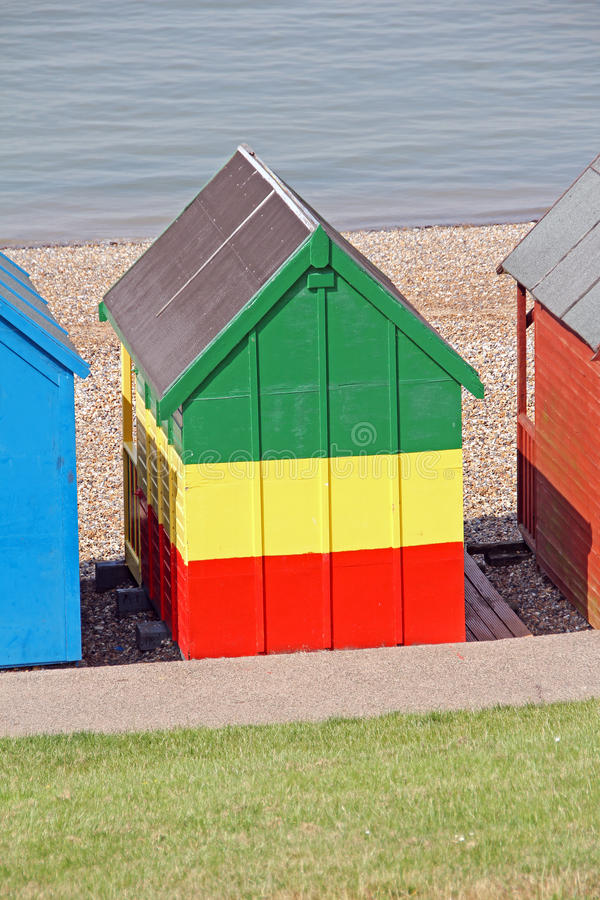 Rastafarian beach hut. Photo of a caribbean beach hut painted in the rastafarian colours of red gold and green royalty free stock photo