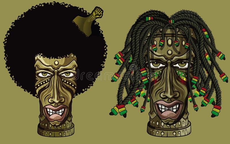 Rastafarian e tiki afroamericano illustrazione di stock