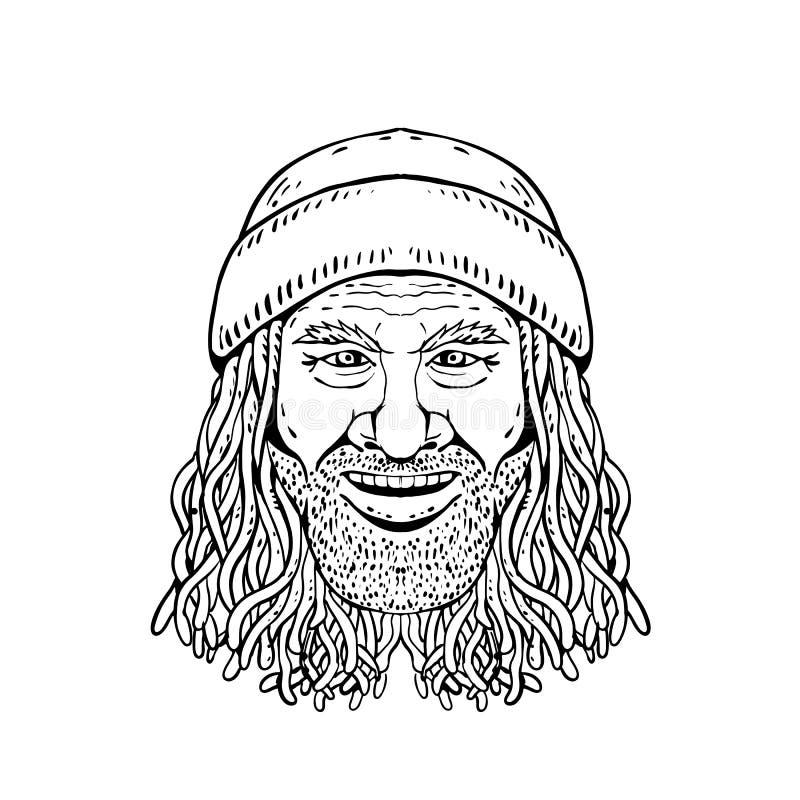 Rastafarian faceta głowy przodu Rysować Czarny I Biały ilustracji