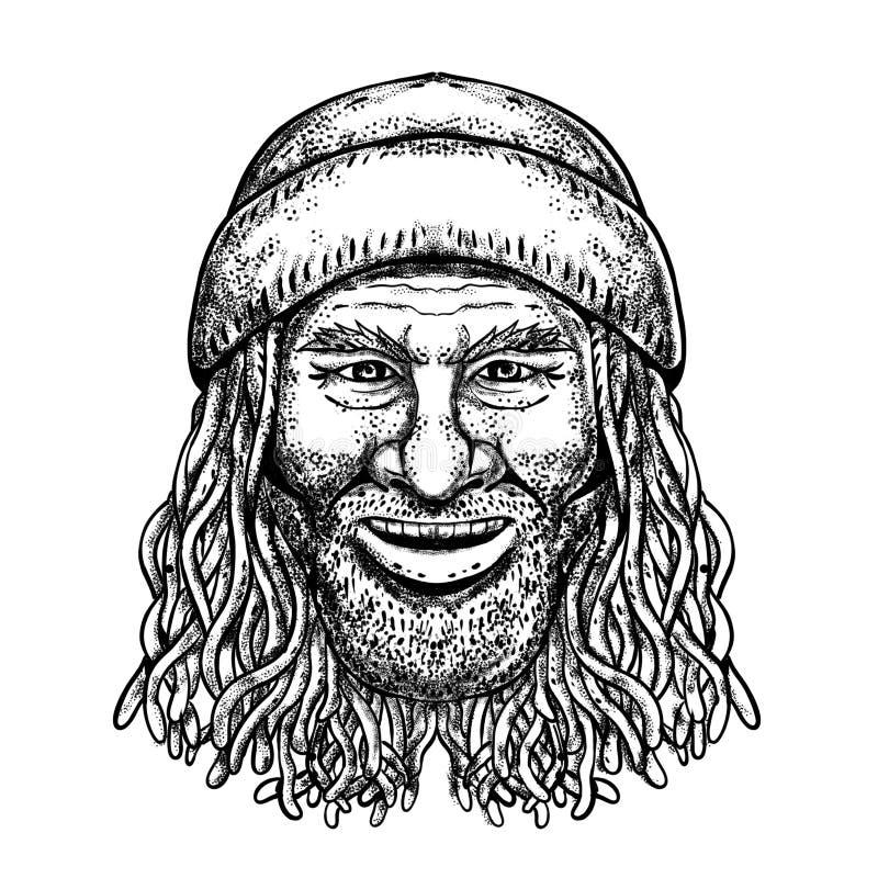 Rastafarian faceta tatuażu Grayscale ilustracji