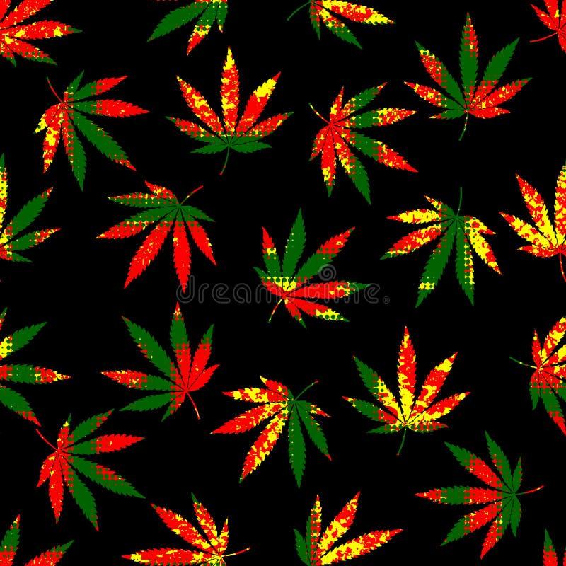 Rastafarian grunge konopie liście royalty ilustracja