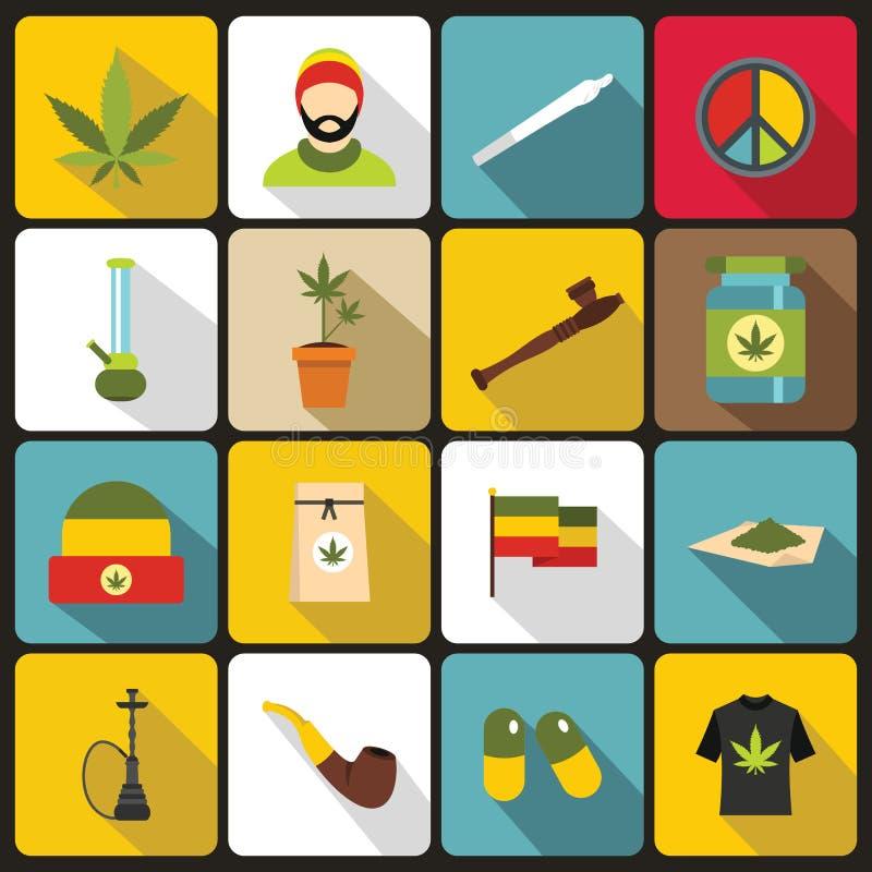 Rastafarian ikony ustawiać, mieszkanie styl royalty ilustracja