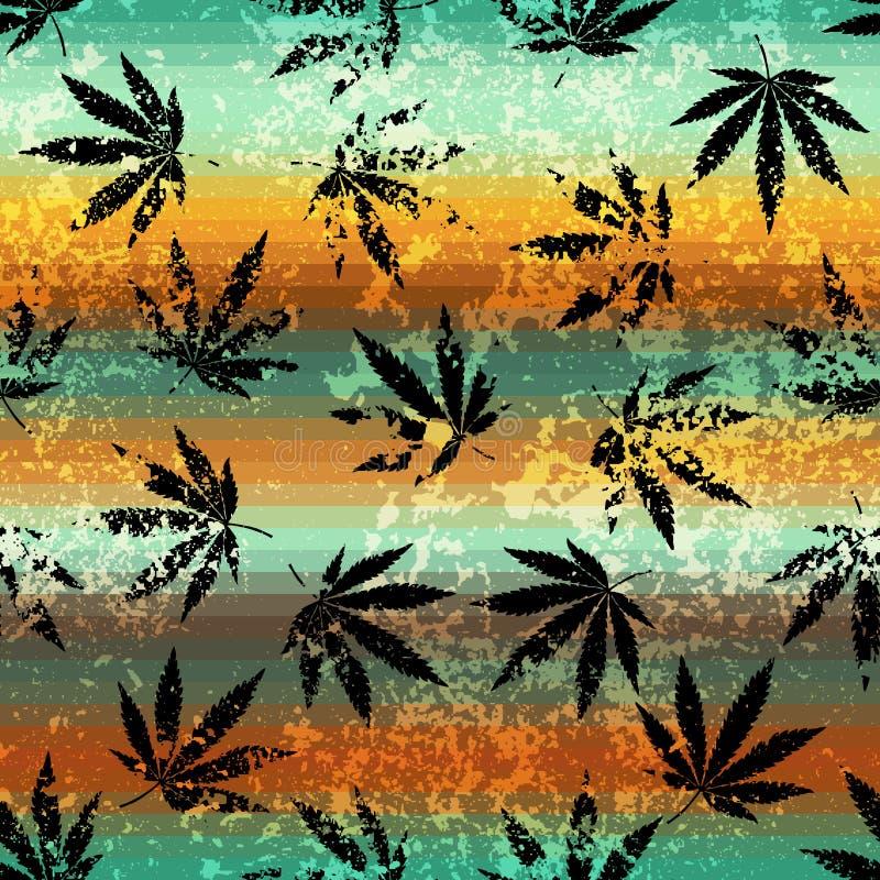 Rastafarian kolorów wzór i grunge konopiani liście ilustracja wektor