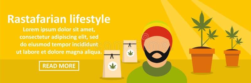 Rastafarian lifestyle banner horizontal concept. Flat illustration of rastafarian lifestyle banner horizontal vector concept for web vector illustration