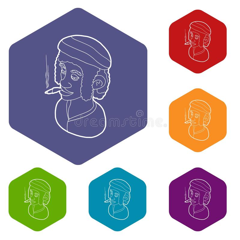 Rastafarian mężczyzna jest ubranym kapitałkę i dymi ikona wektoru sześcioboka ilustracji