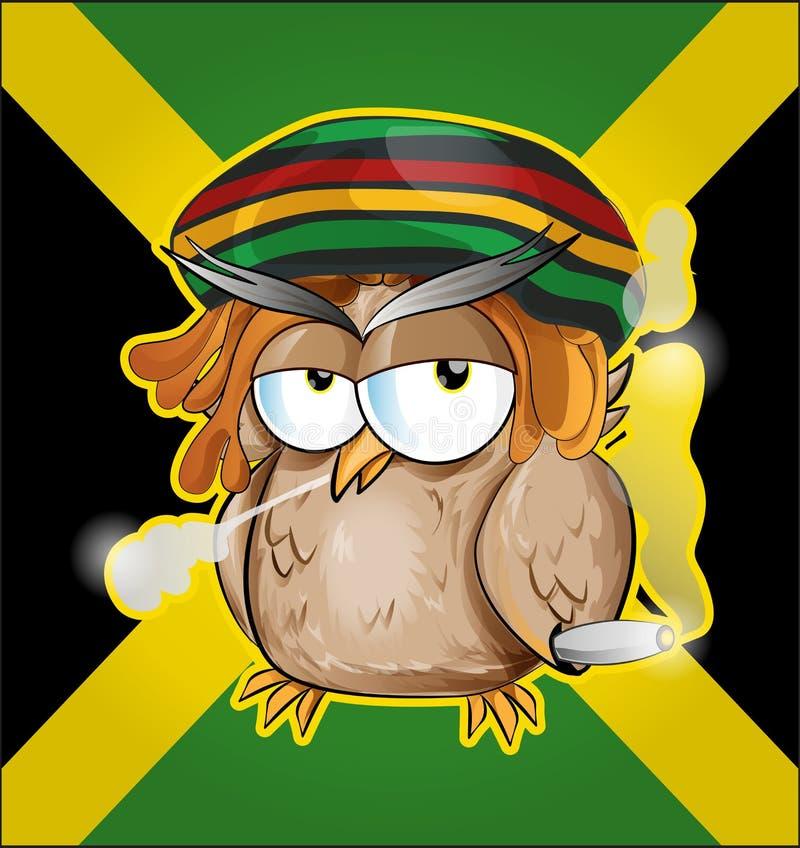 Rastafarian sowy kreskówka ilustracja wektor