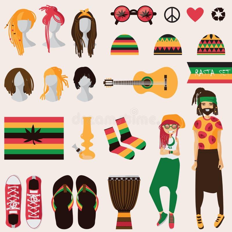 Rastafarian subkultur Par av den unga rastamankvinnan och mannen med dreadlocks i rastakläder, uppsättning av isolerade olika obj stock illustrationer