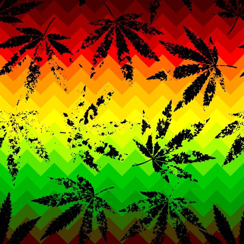 Rastafarian szewronu wzór i grunge konopie ilustracji