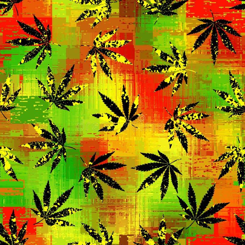 Rastafarian szewronu wz?r i grunge konopiani li?cie royalty ilustracja