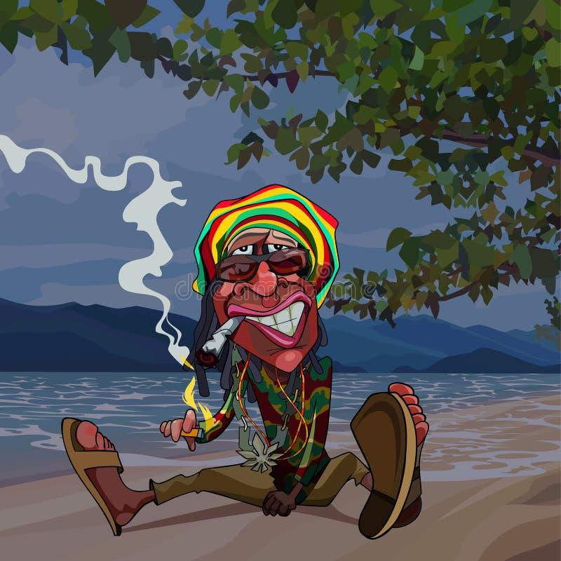 Rastaman человека мультфильма смешное сидит морем и курит бесплатная иллюстрация