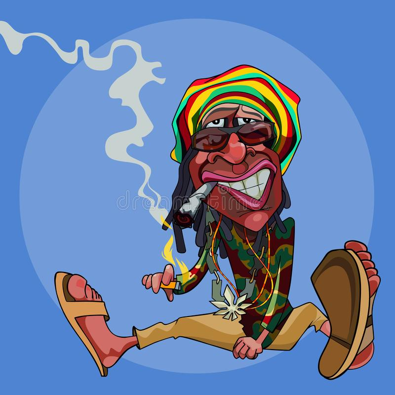 Rastaman человека мультфильма смешное сидит на поле и курит иллюстрация вектора