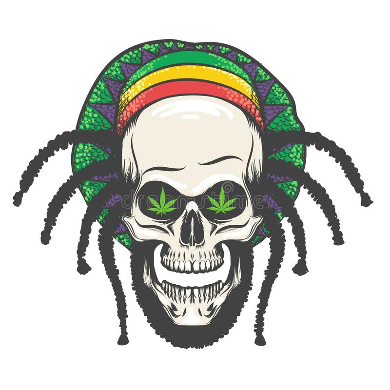 Rastaman skalleillustration royaltyfri illustrationer