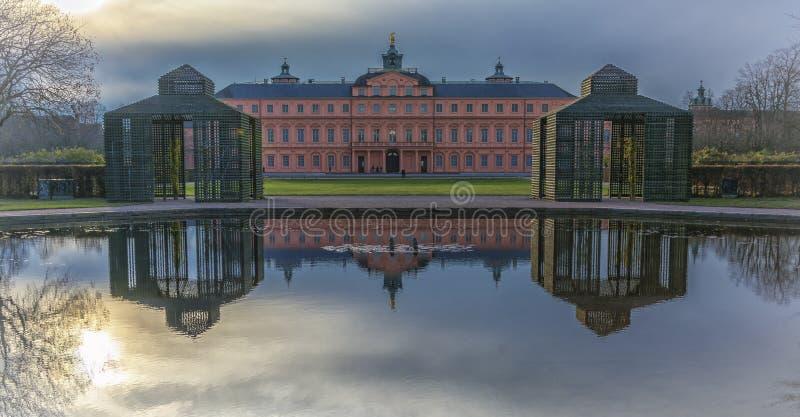 Residence castle in Rastatt,Germany at sunset royalty free stock image