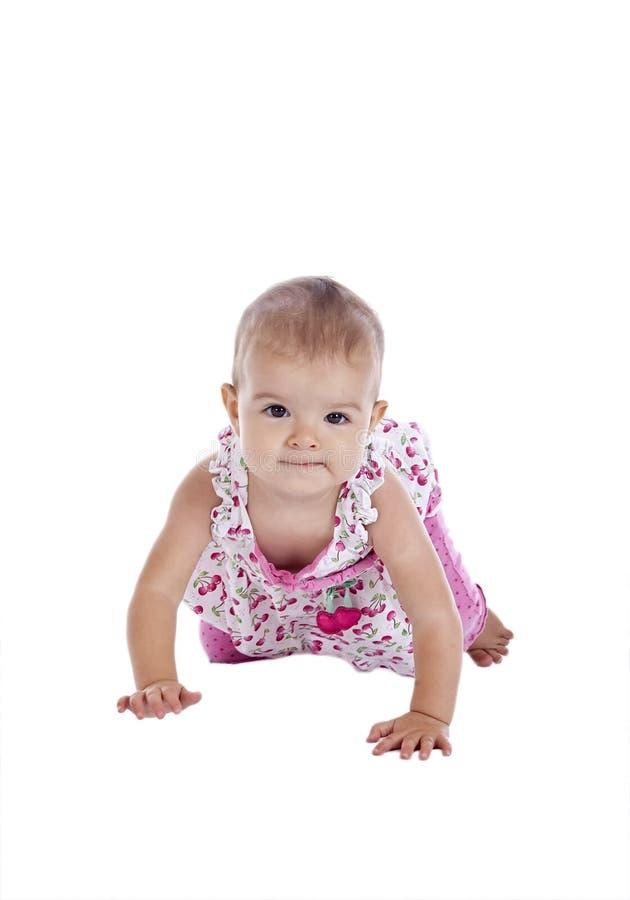 Rastejamento do bebê foto de stock