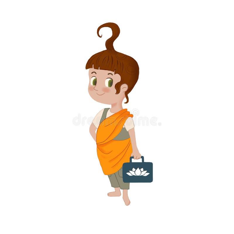 Raster śliczna mała dziewczynka w mnichu buddyjskim odziewa z lotosem na torbie Ilustracyjna maskotka dla szkoły, edukacji i rozw ilustracji
