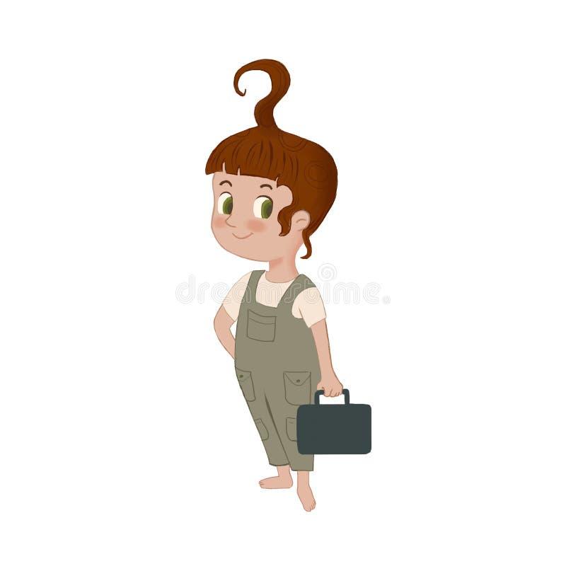 Raster śliczna mała dziewczynka z narzędziową torbą Ilustracyjna maskotka dla szkoły, edukacji i centrum rozwoju, ilustracja wektor