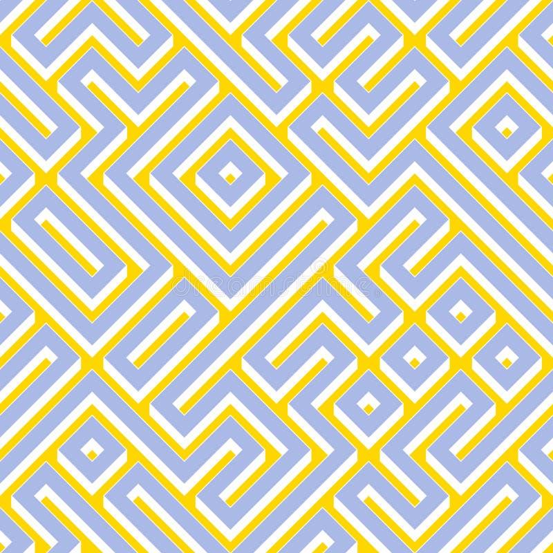 Raster Bezszwowego Błękitnego Żółtego Białego koloru labiryntu Geometryczny wzór royalty ilustracja