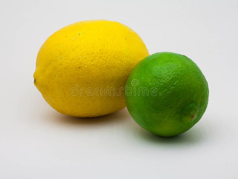 Lemon and lime on a white background royalty free stock photography