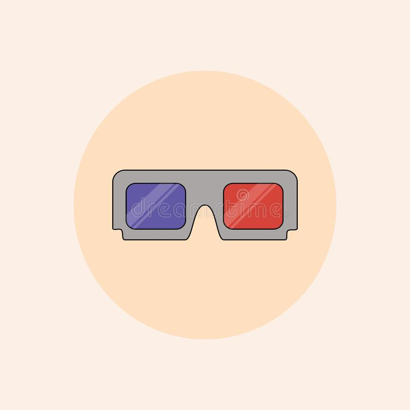Raster 3d cinema glasses flat icon in pastel colors. royalty free illustration