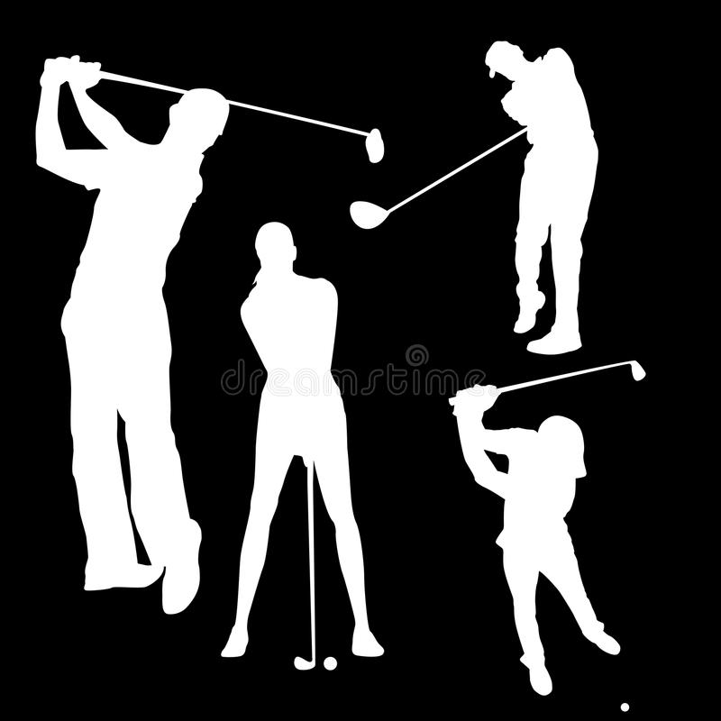 Raster drawing of a silhouette of a golfer male, white in black. Set of golf icons, silhouette of a man with a stick in different poses royalty free illustration