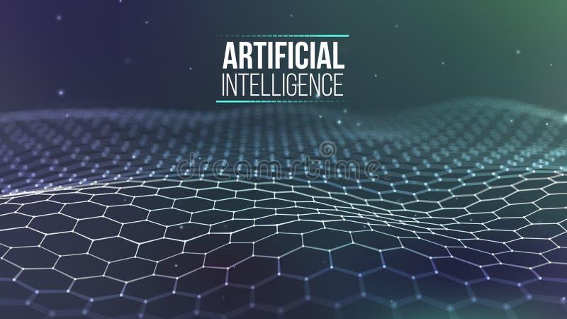 Raster för bakgrund 3d Wireframe för nätverk för Ai-techtråd futuristisk konstgjord intelligens Cybersäkerhetsbakgrund stock illustrationer