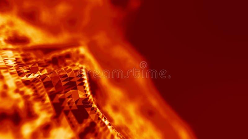 Raster för bakgrund 3d Wireframe för nätverk för Ai-techtråd futuristisk konstgjord intelligens Cybersäkerhetsbakgrund vektor illustrationer