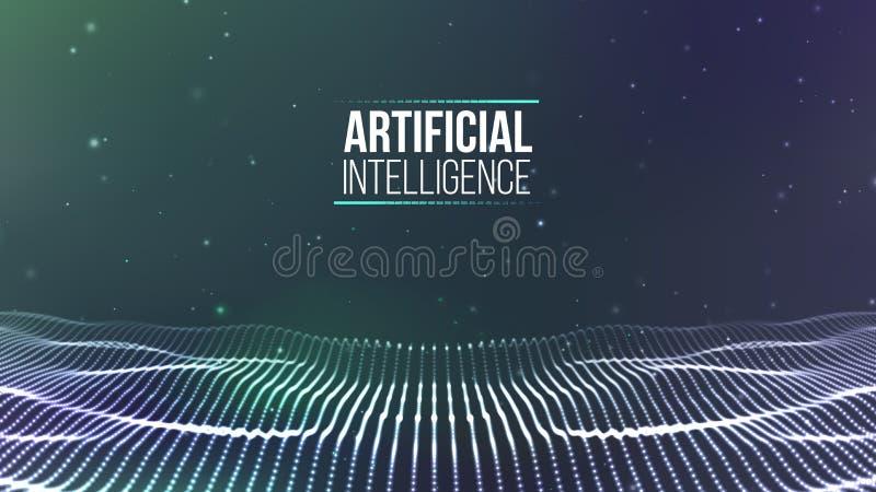 Raster för bakgrund 3d Wireframe för nätverk för Ai-techtråd futuristisk konstgjord intelligens Cybersäkerhetsbakgrund royaltyfri illustrationer